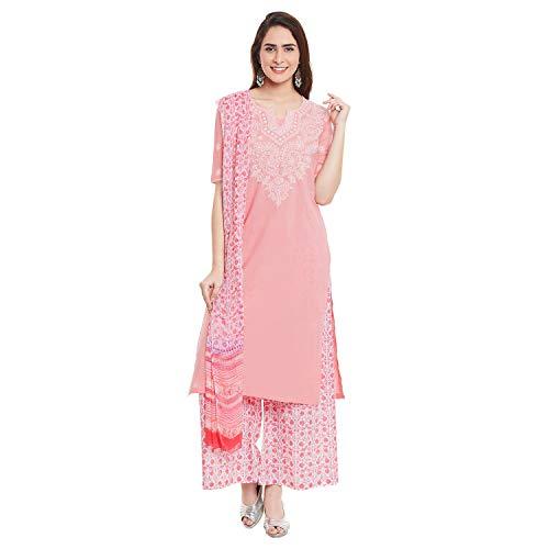 (PinkShink Pink Cotton Lucknowi Chikan Kurta Palazzo Dupatta Set (XXL) d141xxl)