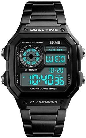 2018 Fashion Men Sports Watches Count Down Waterproof Watch Stainless Steel Electronic Digital Wristwatches