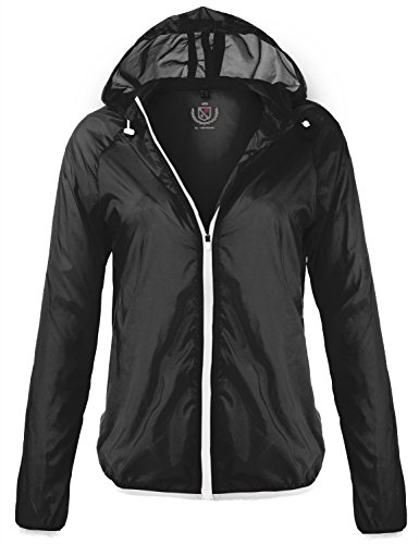 Waterproof Transparent Light Hooded Wind Rain Jackets, 092 - Black White, X - Large