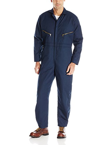 Red Kap Men's Insulated Twill Coverall with Quilted Lining, Long Sleeve, Navy, Regular Large