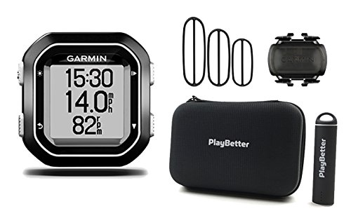 Garmin Edge 25 Cadence Bundle with Cadence Sensor, PlayBetter Portable USB Charger & Hard Carrying Case, Bike Mount, USB Cable | World's Smallest GPS Cycling Computer by PlayBetter
