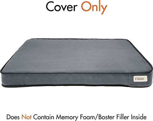 Friends Forever Memory Foam Large Dog Bed, Supreme Edition Cover Only, Pewter by Friends Forever