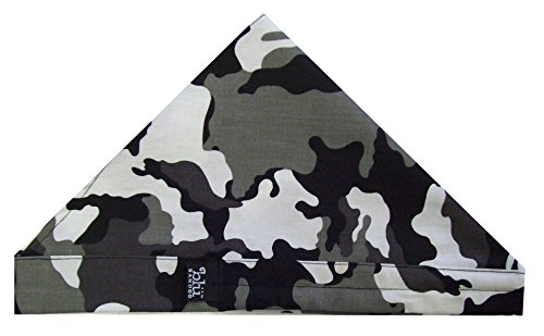 Blubandoo Water Activated Evaporative Bandoorag. Cool Biker Doo Rag Headwrap in Grey Camouflage. Our Skull Cap Contains Cooling Crystals for Unisex Heat Relief. Made in USA Of Imported Fabric
