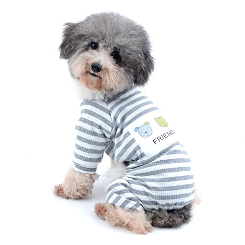 Ranphy Small Dog Stripe Pajamas Winter Comfy Cotton Pet Clothes Puppy Outfit Cat Apparel Doggy Pyjamas PJS Shirt Yorkie Jumpsuit Boys for Summer Autumn Gray Size S