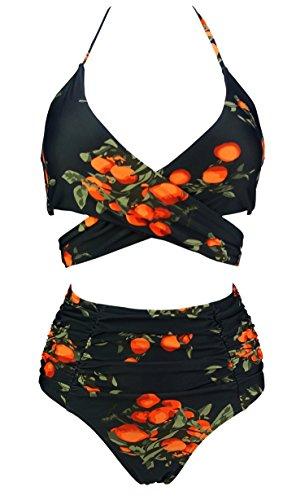 COCOSHIP Black & Orange Tangerine Fruit Retro Ruching High Waist Bikini Set Cross Wrap Top Sport Tie Back Bathing Swimsuit 12(FBA) Retro Vintage Tie