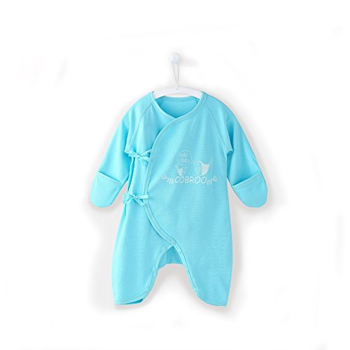 COBROO 100% Cotton Baby Pajamas with Mitten Cuffs Cute Lucky Birds Print Baby Long-Sleeve Footless Sleepers 0-3 Months