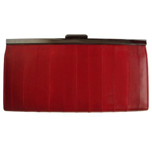 Eel Skin Clutch - Rainbow Women's Genuine Eel Skin Leather Frame Clutch Wallet Red
