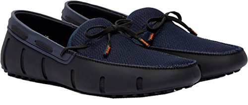 Swims Mens Lace Loafer Driver Black/Navy Double Thread Size 9.5 by SWIMS