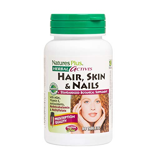 Natures Plus Hair, Skin & Nails - 60 Vegan Tablets - Multivitamin Supplement with Vitamin C, E, B12, Folate & Biotin, Promotes Longer, Stronger, Healthier Hair - Gluten Free - 30 Servings