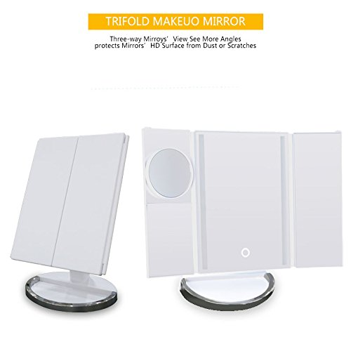 Tow Master Special Trailer (【Upgraded Model】LED lighted makeup mirror,Portable Folding Led Lighted Vanity Mirrors with 10X Magnifying Tri Foldable Cosmetic Vanity Mirror,Touch Screen Usb Charging 180°Adjustable Stand for Travel)