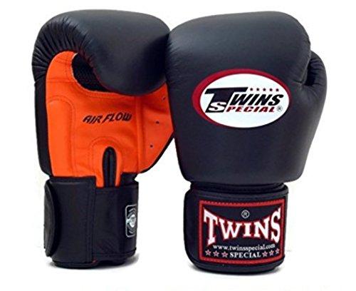 Twins Special Muay Thai Boxing Gloves BGVLA-2 Air Flow Gloves - 12 Oz Orange black