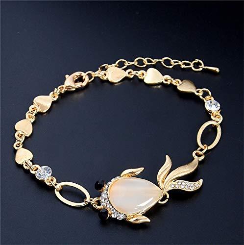 (MMYUSL Bracelet Newest Gold Color Charming Cat Eye Goldfish Chain Bracelet Jewelry Wholesale)