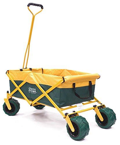 Creative Outdoor Distributor All-Terrain Folding SPORTS Team Wagon, (Green-Yellow/GreenWheels) 900555 - Multipurpose Cart for Gardening, Camping, Beach Trips, and Travelling by Creative Outdoor Distributor (Image #1)