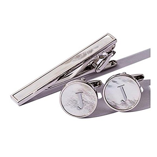 Digabi Platinum Plated 18K Rectangular Mother of Pearl Tie Clip and Initial Letter Cufflinks Set with Nice Box (Silver J)