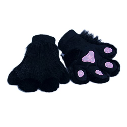 Pawstar Paw Mitts Furry Animal Hand Paws Costume Gloves Adults - Black (Paw Mitts)