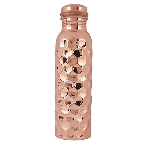 Handcrafted Hammered Traditional Indian 100% Pure Solid Diamond Copper Bottle Leak Proof Ayurvedic 34 Oz Pitcher (Best Water Bottle Brand In India)
