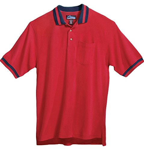 Tri-mountain 60/40 pique pocketed golf shirt with trim. - RED / NAVY - XX-Large