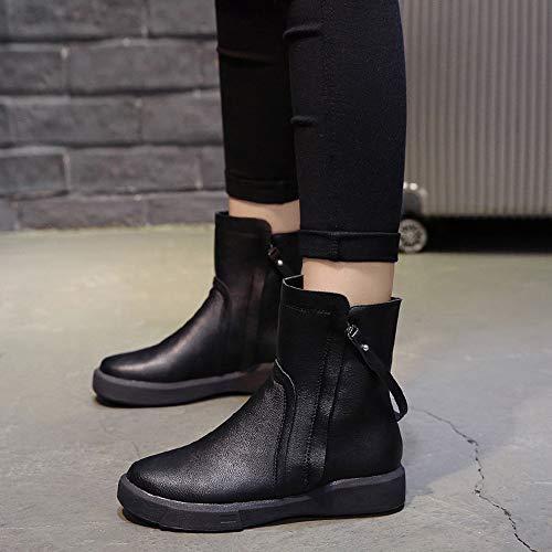 Plates Mode Pour Femmes Court Cuir Dcontractes Bottes Noir Bas Tube Kobay Martin Botte Bootie Chaussures Glissire Zipp De En Cqz0ww