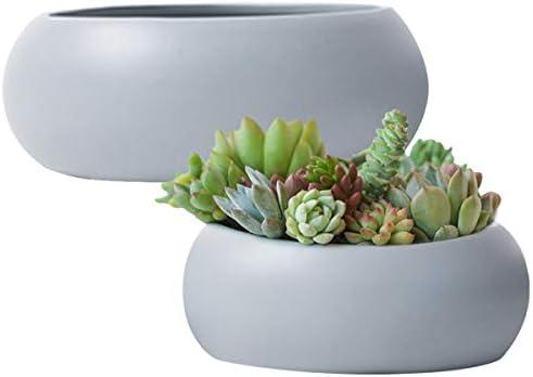 Succulent Plant Pots Ceramic Round 2 Pack Cactus Container Grey