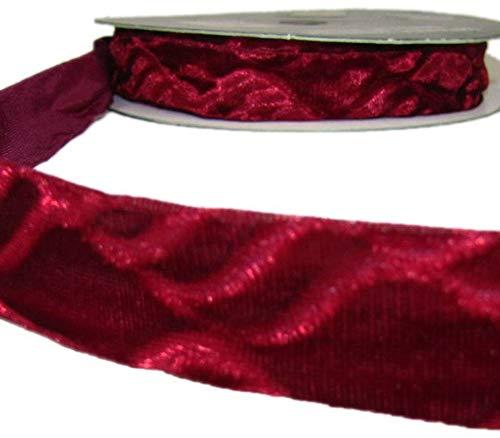 Ribbon Art Craft Decoration 2 Yds Christmas Dark Red Embossed Crushed Velvet Ribbon 1