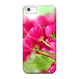 Durable Protector Cases Covers With Pretty Pink Tulips Hot Design For Iphone 5c