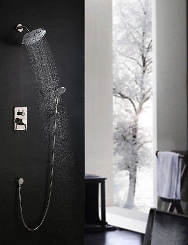 Ling@ Shower Tap Shower Faucet Contemporary Rain Shower / Handshower Included Brass Nickel Brushed price
