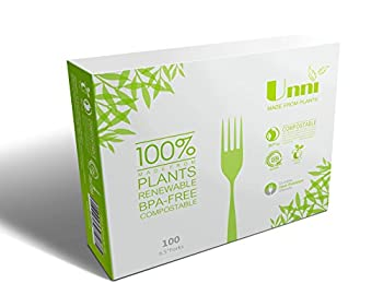 """UNNI 100% Compostable Biodegradable Corn Starch 6.5"""" Forks, 100-Piece ,US BPI and European DIN CERTCO Certificated,Premium Quality & Sturdy Plant Starch Cutlery/Utensiles/Flatware,High-Heat Resistant"""