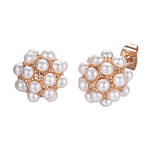 VOGEM Small Beaded Pearl Cluster Stud Earrings For Womens 18K Rose Gold Plated Piercing Earrings