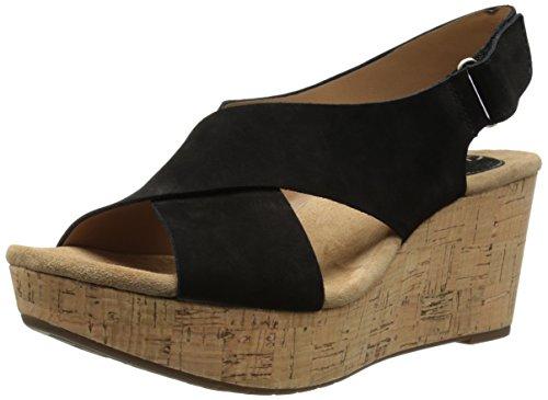 Clarks Caslynn Shae Damen Schwarz Leder Keil Sandalen Schuhe Neu EU 41