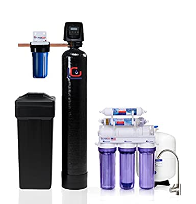 Whole House Water Filtration Kit - Fleck 5600 Metered on Demand Water Softener + 6 Stage High Flow Antioxidant Reverse Osmosis Drinking Water Purification System | LiquaGen Water