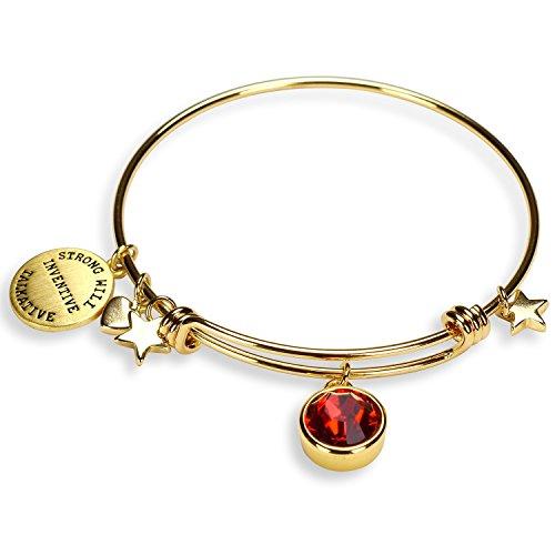 (Miraclelove Gold Plated Charm Bracelet Crystal Birthstone Expandable Bangle Bracelet)