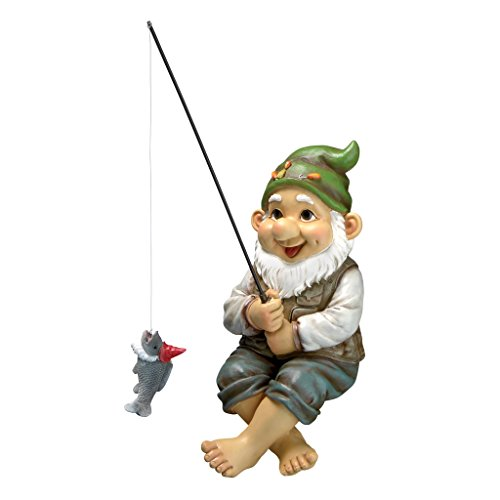 Design Toscano Garden Gnome Statue - Ziggy The Fishing Gnome Sitter - Outdoor Garden Gnomes - Funny Lawn Gnome Statues by Design Toscano