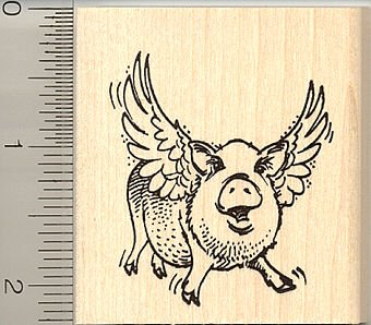 amazon com flying pig rubber stamp arts crafts sewing