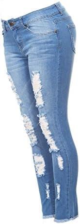 Ripped y Distressed Frayed Hem Skinny Stretch Jeans Junior o Plus tamaños
