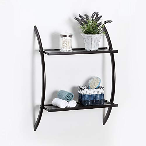 Home Zone Bathroom Storage Shelf Wall Mount Organizer with 2-Tiers and Wide Shelving Pattern | Restroom Space Saver with Oil-Rubbed Bronze Finish (Rounded Style)