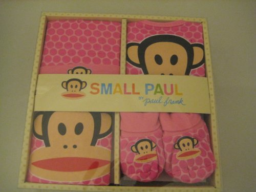 Small Paul Gift Set Includes : Bib, Burp Cloth, Cap and Booties 4 Pcs One Set; Pink Color New