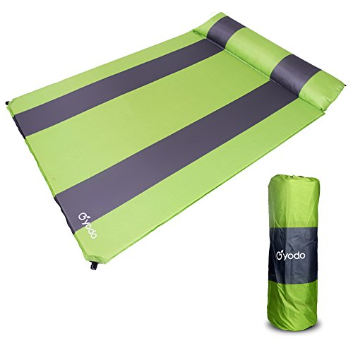 Yodo Lightweight Double Self-Inflating Sleeping Pad with Pillows for Outdoor Camping Backpacking Hiking,Green
