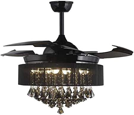 Sweety House 42″ Crystal Ceiling Fan Chandelier Invisible Retractable Fan Blade