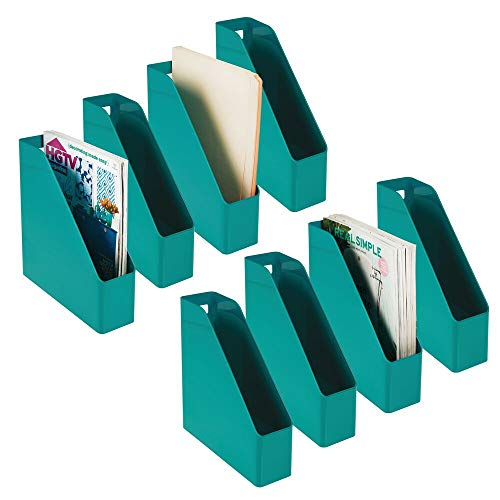 (mDesign Plastic File Folder Bin Storage Organizer - Vertical with Handle - Holds Notebooks, Binders, Envelopes, Magazines - Container for Home Office and Work Desktops - 8 Pack - Teal Blue)