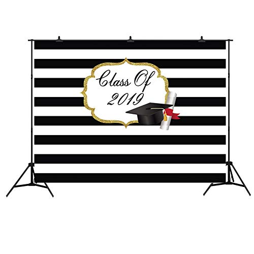 Graduation Backdrop for Photos 2019 Black and White Striped Photography Background Studio Props 7x5ft Vinyl Party Decorations]()