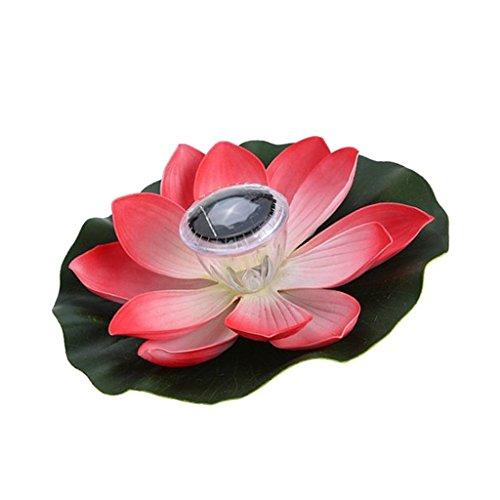 Baoblaze 5 Style Petals Solar Powered LED Lights Color Changing Lantern Waterproof Pool Floating Lotus Flower Light Plant Ornament Summer Decor - Pink Petals, 28cm