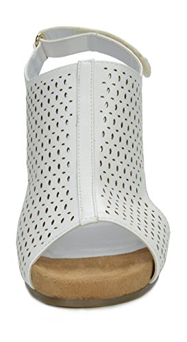 Mid Women's Sandals TOETOS Solsoft Platform White 6 Heel Wedges 7EU161aW