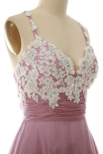 MACloth Women Strap Short Lace Chiffon Cocktail Dress Short Prom Formal Gown Ash Pink