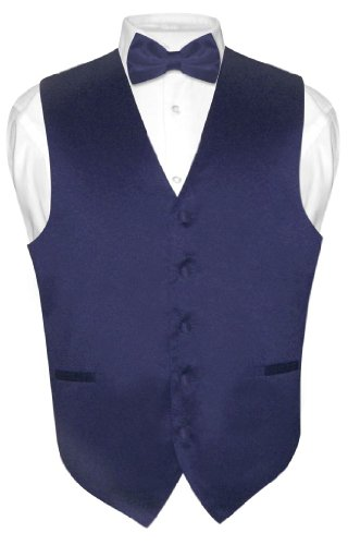 Men's Dress Vest & BowTie Solid NAVY BLUE Color Bow Tie Set size Med
