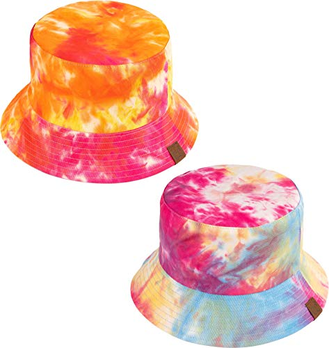 (H-219-2-TD2865 Bucket Hat 2-Pack: Light Blue & Rose (Tie Dye/Reversible))