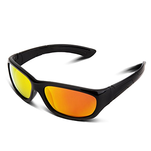 RIVBOS RBK025 Rubber Flexible Kids Polarized Sunglasses Glasses Age 3-10 (Black Coating - Kids Prescription Sunglasses