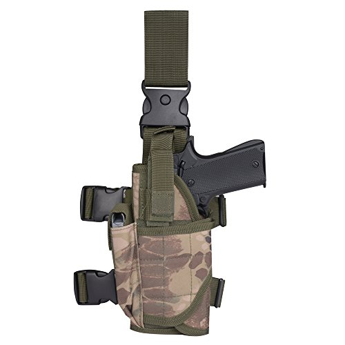 Tactical Leg Holster - Adjustable Pistol Hand Gun Drop Leg Thigh Holster Harness W/ Magazine Pouch Left Handed (Left Leg Holster Green Boa, Left Leg Holster) (Garter Gun Holster)