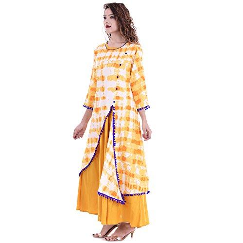 Chichi Indian Women Kurta Kurti 3/4 Sleeve Large Size Floral Printed Round Anarkali Orange-White Top by CHI (Image #2)