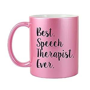 Mama Birdie Best Speech Therapist Ever Coffee Cup/Tea Mug - Script Print (Glitter Pink)