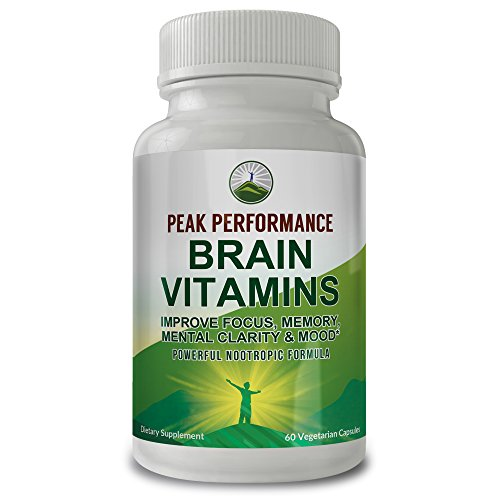 Peak Performance Brain Vitamins. Powerful Nootropic Booster for Improved Focus, Memory, Mental Clarity and Mood. with DMAE, Bacopa Monnieri, Ginkgo Biloba, St. Johns Wort